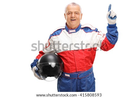 Mature car racer holding a gray helmet and pointing up with his finger isolated on white background - stock photo