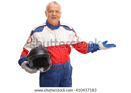 Mature car racer in a racing suit gesturing with his hand isolated on white background - stock photo