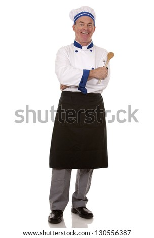 mature chef wearing workwear on white isolated background - stock photo