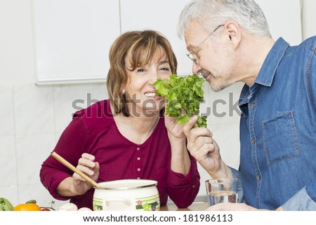Mature Couple chopping  vegetable and smelling a  parsley togetherness. - stock photo