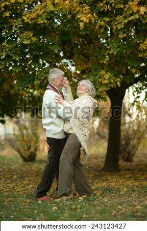 Mature couple dancing in the autumn park - stock photo