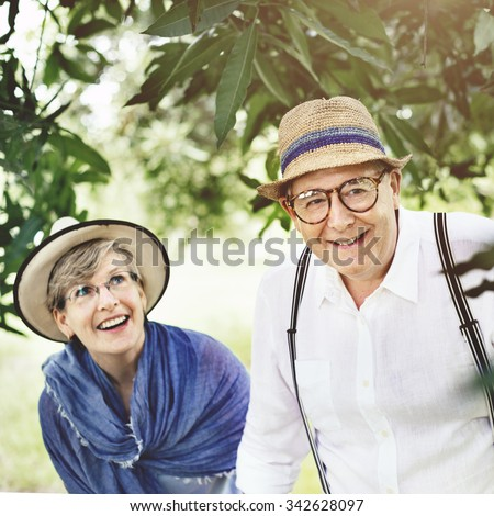 Mature Couple Exploring Together Outdoors Concept - stock photo