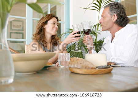 Mature couple toasting with red wine while having healthy lunch outdoors. - stock photo