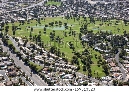 Mature desert golf course from above in the Arizona desert community of Litchfield Park - stock photo