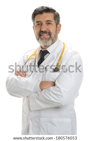 Mature Doctor smiling with crossed arms isolated on a white background - stock photo