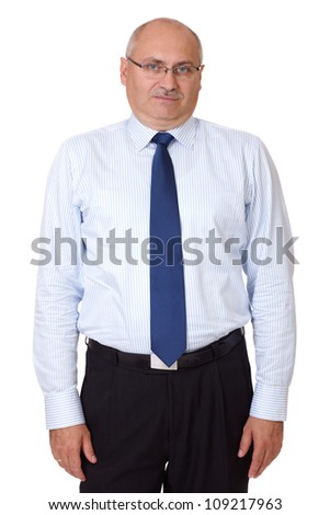 Mature fed up male isolated on white background - stock photo