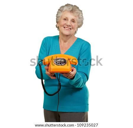 Mature Happy Woman Holding Telephone On White Background - stock photo
