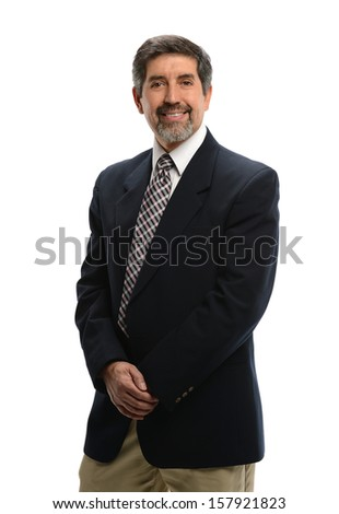 Mature Hispanic businessman standing isolated on a white background - stock photo