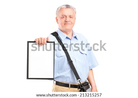 Mature mailman holding a clipboard isolated on white background - stock photo