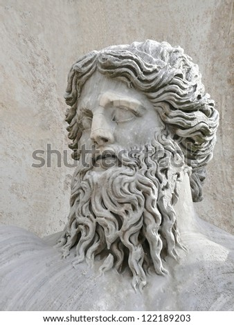 Mature man head closeup, campidoglio, rome, italy. - stock photo