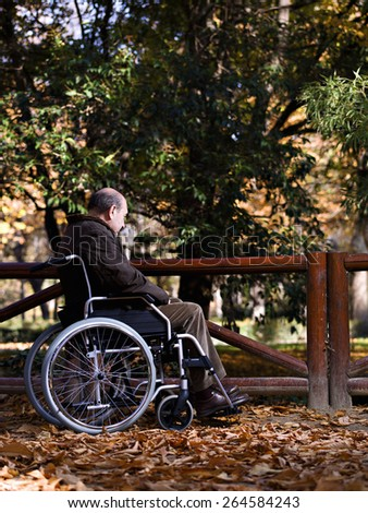 Mature man in wheelchair, in a park, one autumn day - stock photo