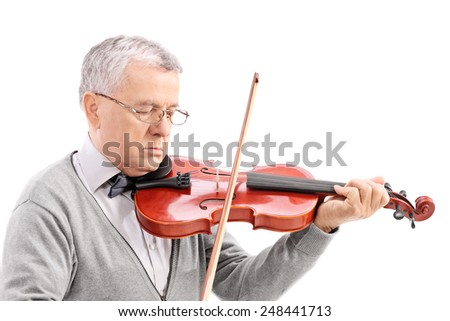 Mature man playing a violin isolated on white background - stock photo