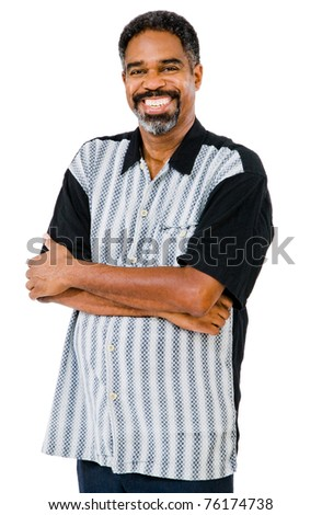 Mature man posing and smiling isolated over white - stock photo
