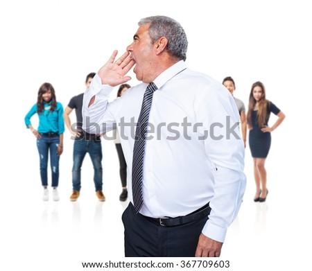 mature man shouting - stock photo