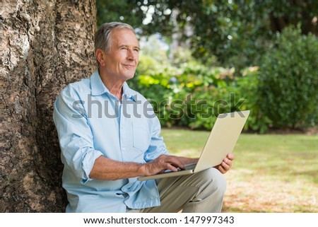 Mature man with a laptop looking into the sky and sitting on a tree  - stock photo