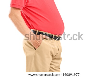 Mature man with belly posing isolated on white background - stock photo