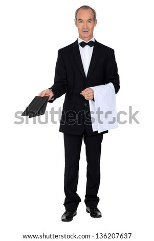 mature sommelier at work - stock photo