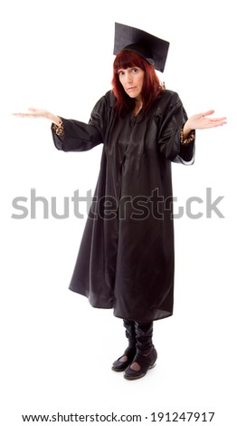 Mature student standing and shrugging - stock photo