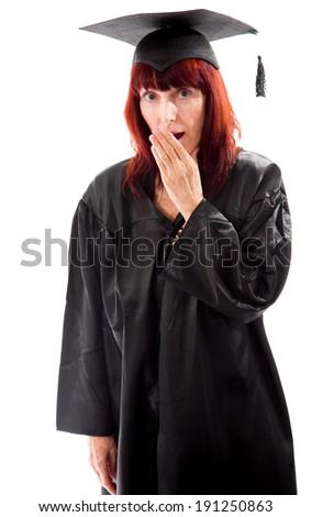 Mature student yawning - stock photo