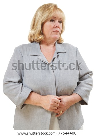 Mature woman down and thoughtful - stock photo