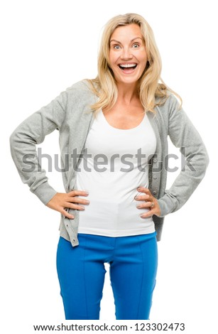 Mature woman excited isolated on white background - stock photo