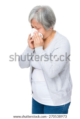 Mature woman got flu - stock photo