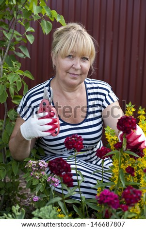 Mature woman in the garden, holds shears in one hand and is about to cut a flower  - stock photo