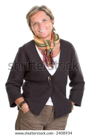 Mature woman looks at the camera and smiles, isolated on white - stock photo