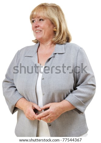 Mature woman 3/4 profile smiling - stock photo