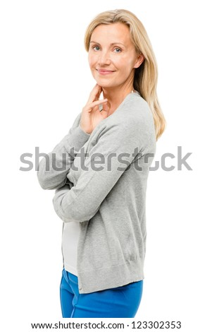 Mature woman with real body happy isolated on white background - stock photo