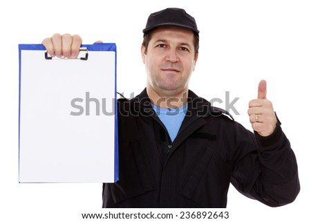 Matured male indicating down at whiteboard isolated over white - stock photo