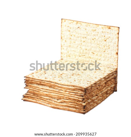 Matzoh ( matzah or matzo) is bland flat dry bread - jewish traditional Passover (Pesach) bread. White isolated - stock photo