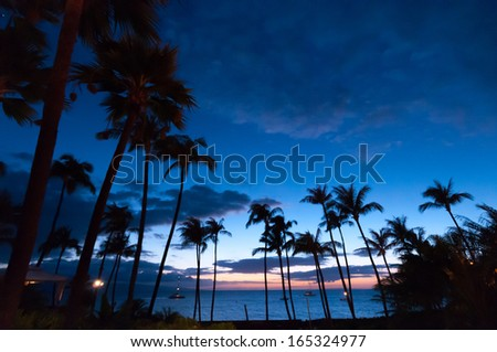 Maui, HI - April 22, 2008 - The Westin Resort at sunset on the island of Maui in Hawaii, USA - stock photo