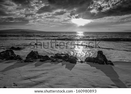 Maui Sunset in Black and White - stock photo