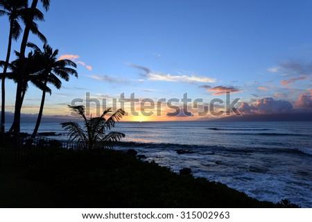 Maui, Sunset View from Kahana, Hawaii -5  - stock photo