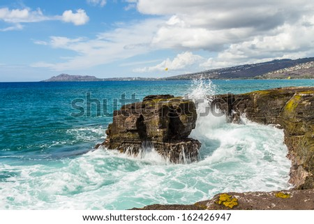 Maunalua Bay on the south shore of Oahu, Hawaii, with Diamond Head in the distance - stock photo