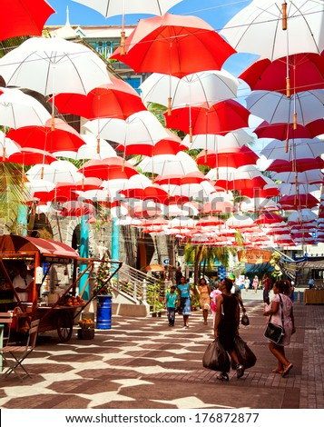 MAURITIUS-DECEMBER 29: Port Louis cityscape on December 29, 2013 in Port Louis, Mauritius. The city is the country's economic, cultural, political center and most populous city. - stock photo
