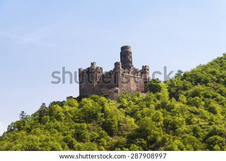 Maus Castle at the Rhine - stock photo