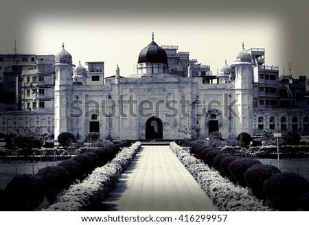 Mausoleum of Bibipari in Lalbagh fort, Dhaka, Bangladesh - Night Effect - stock photo