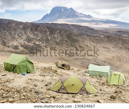 Mawenzi peak, Machame-Mweka Route, Kilimanjaro National Park, near Arusha, Tanzania, Africa - stock photo