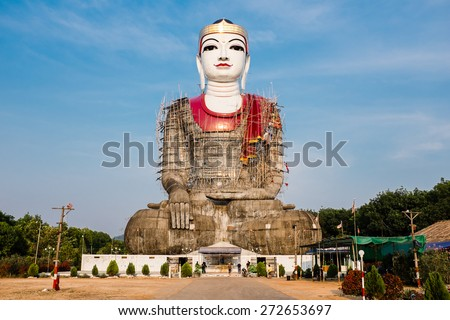 MAWLAMYINE, MON STATE, MYANMAR - APRIL 16, 2015: Mudon Giant Buddha statue same architecture as Win Sein Taw Ya - Reclining Buddha in Mudon City, Mawlamyine, Mon State, Myanmar. - stock photo