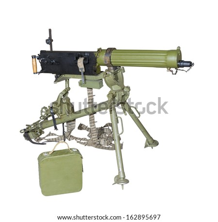 Maxim's machine gun on a tripod sighting-is isolated on the white - stock photo