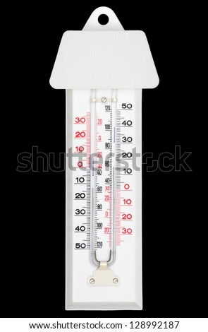 Maxima minima thermometer with shade isolated on black with clipping path - stock photo