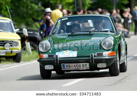 MAXLRAIN - JUNE 7: Porsche 911, year of construction 1969, at the ADAC (german automobile club) historic rally in Maxlrain, Germany on June 7, 2012. - stock photo