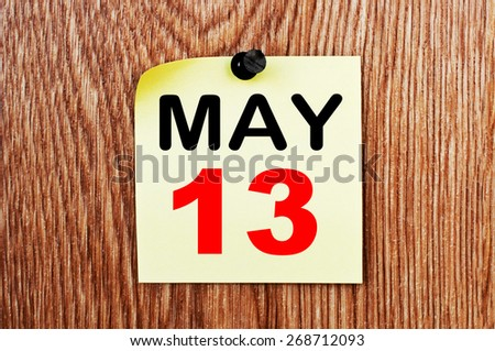 May 13 Calendar. Part of a set - stock photo