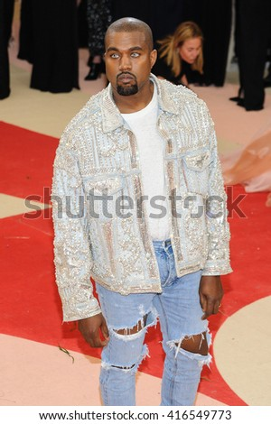 May 2, 2016 - New York, New York, USA - Kanye West arrives at the Metropolitan Museum of Art Costume Institute Gala Manus x Machina: Fashion in the Age of Technology - stock photo