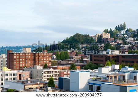 MAY 11 - SEATTLE: A view of the Queen Anne neighborhood in Seattle, Washington seen on May 11, 2014. - stock photo