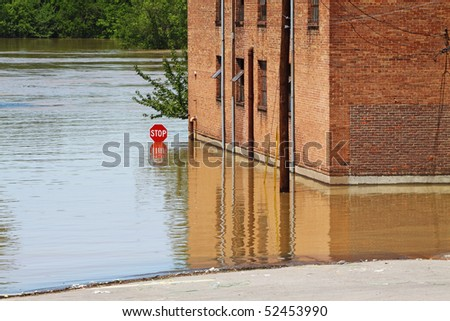 May 2010 The Cumberland River rises after two days of rainfall in Clarksville, TN - stock photo
