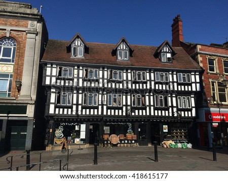May 9, 2016, The Stokes Coffee House Tudor High Bridge Cafe, Lincoln, UK. Built over the River Witham circa 1160 is the only Medieval bridge in England with houses still upon it, standing since 1540. - stock photo