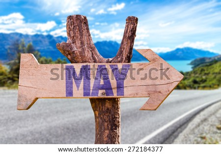 May wooden sign with road background - stock photo